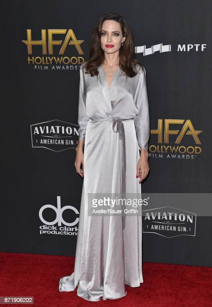 Actress Angelina Jolie arrives at the 21st Annual Hollywood Film Awards at The Beverly Hilton Hotel on November 5 2017 in Beverly Hills California