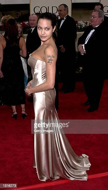 Actress Angelina Jolie arrives at the 58th annual Golden Globes January 21 2001 at the Beverly Hilton Hotel in Beverly Hills CA