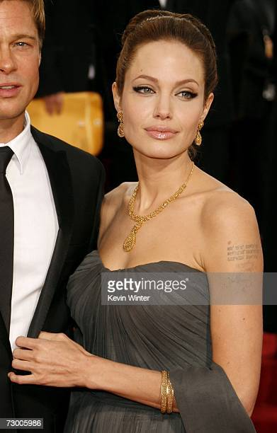 Actress Angelina Jolie arrives at the 64th Annual Golden Globe Awards at the Beverly Hilton on January 15, 2007 in Beverly Hills, California.