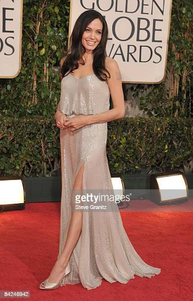 Actress Angelina Jolie arrives at the 66th Annual Golden Globe Awards held at the Beverly Hilton Hotel on January 11 2009 in Beverly Hills California
