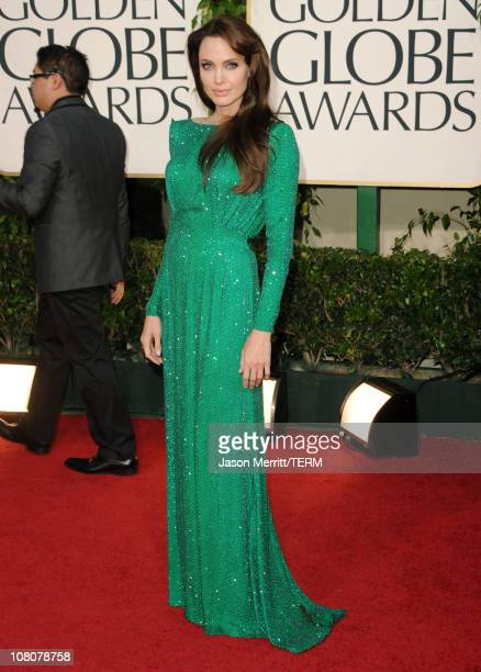 Actress Angelina Jolie arrives at the 68th Annual Golden Globe Awards held at The Beverly Hilton hotel on January 16 2011 in Beverly Hills California