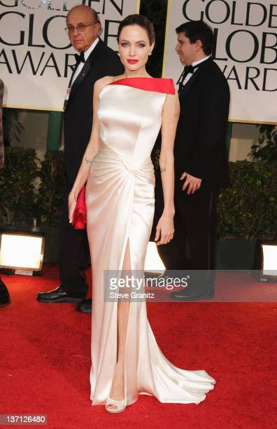 Actress Angelina Jolie arrives at the 69th Annual Golden Globe Awards held at the Beverly Hilton Hotel on January 15, 2012 in Beverly Hills,...