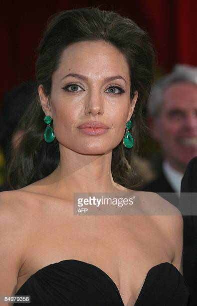Actress Angelina Jolie arrives at the 81st Academy Awards at the Kodak Theater in Hollywood California on February 22 2009 AFP PHOTO Valerie MACON