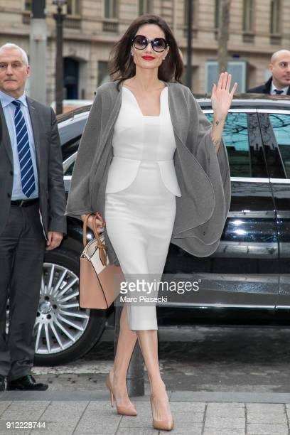 Actress Angelina Jolie arrives at the 'Guerlain' store on the ChampsElysees avenue on January 30 2018 in Paris France
