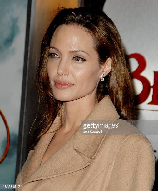 Actress Angelina Jolie arrives at the Los Angeles Premiere 'Beowulf' at the Mann Village Theater on November 5 2007 in Westwood California