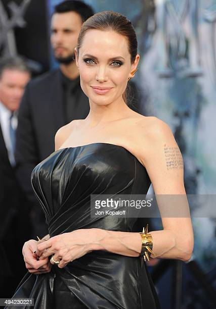 Actress Angelina Jolie arrives at the Los Angeles Premiere 'Maleficent' at the El Capitan Theatre on May 28 2014 in Hollywood California