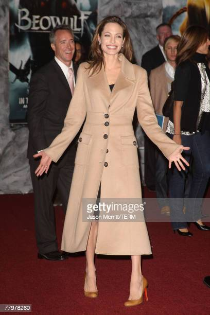 Actress Angelina Jolie arrives at the Los Angeles Premiere of 'Beowulf' at Westwood Village on November 5 2007 in Weswood California