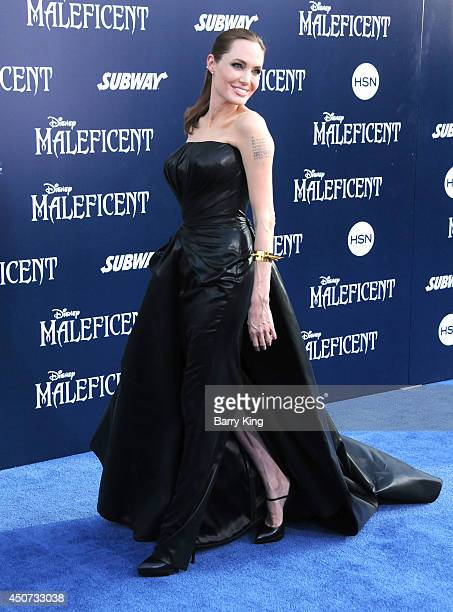 Actress Angelina Jolie arrives at the Los Angeles premiere of 'Maleficent' on May 28 2014 at the El Capitan Theatre in Hollywood California
