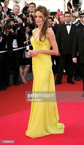 Actress Angelina Jolie arrives at the premiere for the film 'Ocean's Thirteen' at the Palais des Festivals during the 60th International Cannes Film...