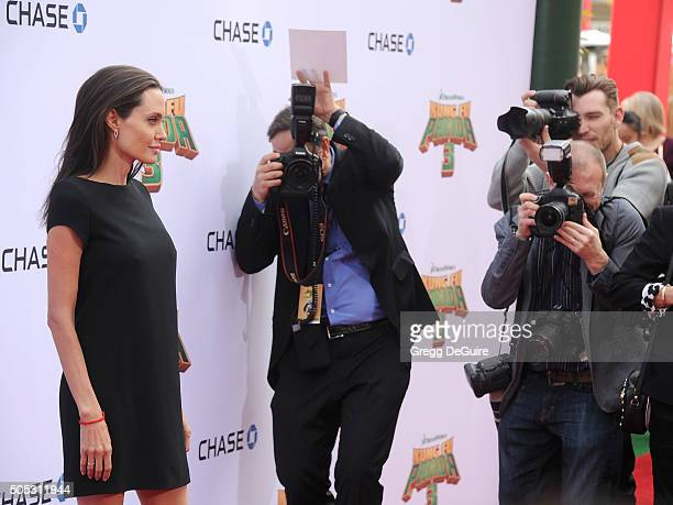"""Actress Angelina Jolie arrives at the premiere of 20th Century Fox's """"Kung Fu Panda 3"""" at TCL Chinese Theatre on January 16, 2016 in Hollywood,..."""