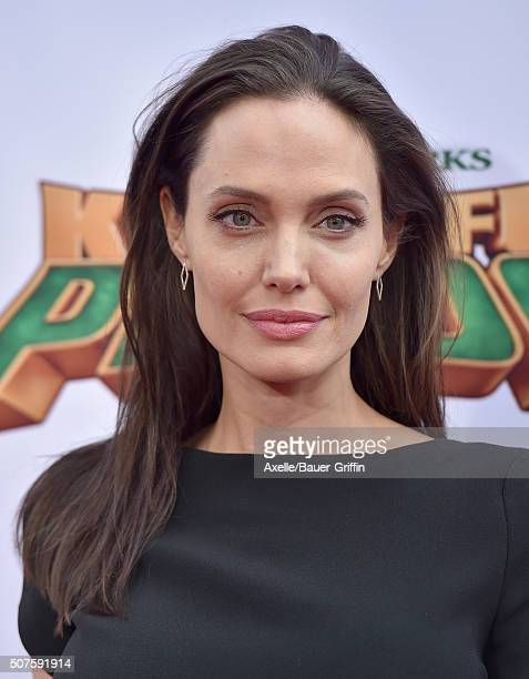 Actress Angelina Jolie arrives at the premiere of 20th Century Fox's 'Kung Fu Panda 3' at TCL Chinese Theatre on January 16 2016 in Hollywood...