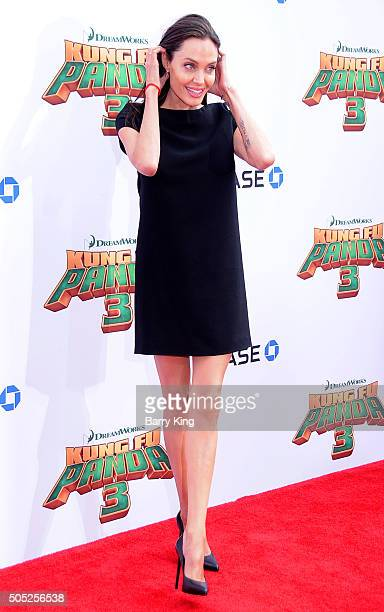 Actress Angelina Jolie arrives at the Premiere of DreamWorks and Twentieth Century Fox's 'Kung Fu Panda 3' at TCL Chinese Theatre on January 16 2016...