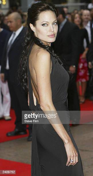 Actress Angelina Jolie arrives at the premiere of 'Lara Croft Tomb Raider The Cradle Of Life' at the Empire Cinema Leicester Square on August 19 2003...
