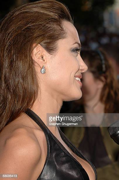 Actress Angelina Jolie arrives at the premiere of 'Mr and Mrs Smith' at the Mann Village Theater on June 7 2005 in Westwood California