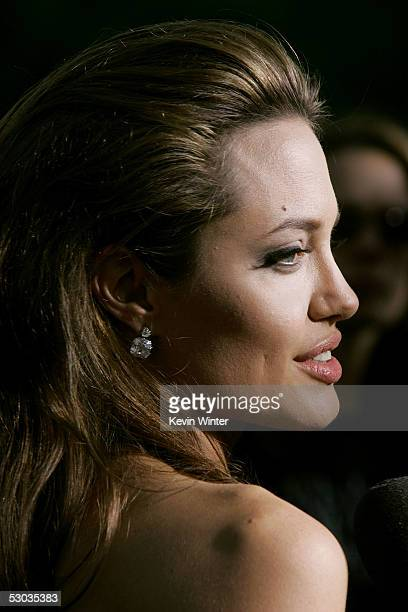 Actress Angelina Jolie arrives at the premiere of Mr Mrs Smith at the Mann Village Theater on June 7 2005 in Westwood California