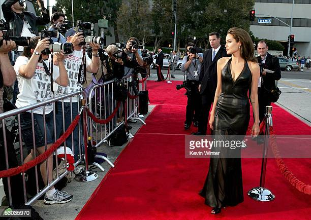 Actress Angelina Jolie arrives at the premiere of 'Mr Mrs Smith' at the Mann Village Theater on June 7 2005 in Westwood California