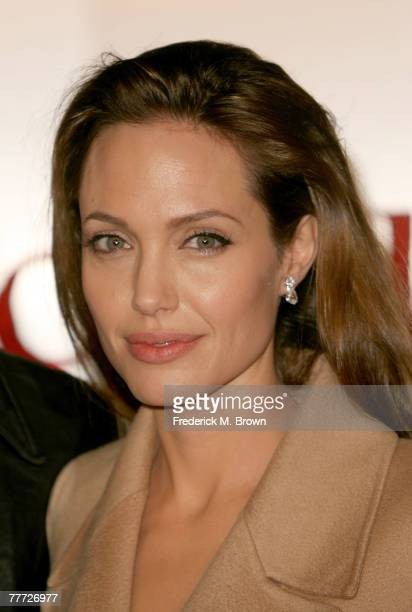 """Actress Angelina Jolie arrives at the premiere of Paramount Pictures' """"Beowulf"""" at the Westwood Village Theatre on November 5, 2007 in Los Angeles,..."""