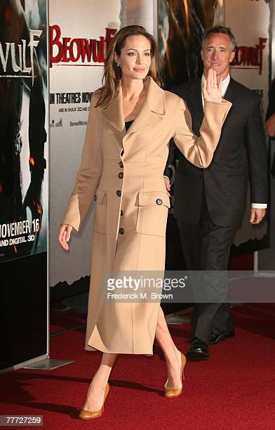 Actress Angelina Jolie arrives at the premiere of Paramount Pictures' 'Beowulf' at the Westwood Village Theatre on November 5 2007 in Los Angeles...