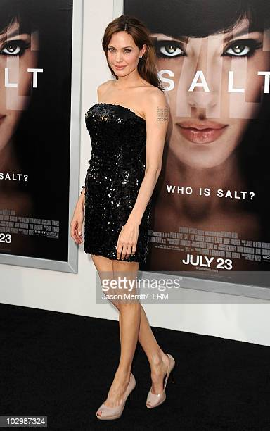 Actress Angelina Jolie arrives at the premiere of Sony Pictures' Salt at Grauman's Chinese Theatre on July 19 2010 in Hollywood California