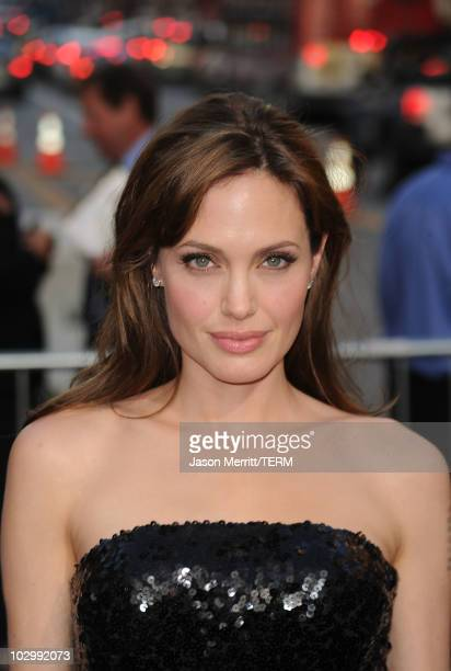 Actress Angelina Jolie arrives at the premiere of Sony Pictures' 'Salt' at Grauman's Chinese Theatre on July 19 2010 in Hollywood California
