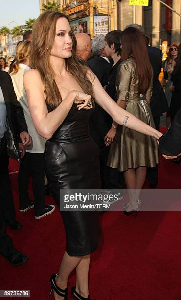 Actress Angelina Jolie arrives at the premiere of Weinstein Co's 'Inglourious Basterds' held at Grauman's Chinese Theatre on August 10 2009 in...