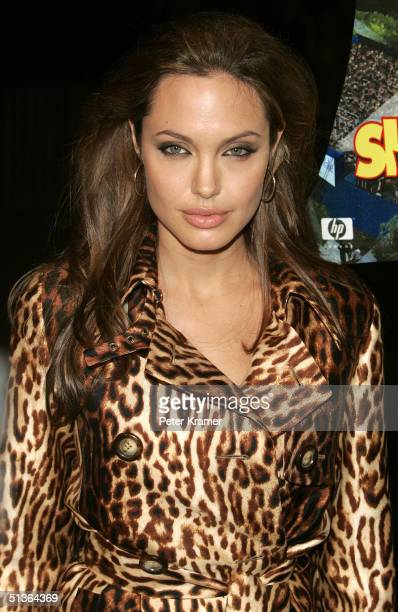 Actress Angelina Jolie arrives at the 'Shark Tale' premiere at Central Park's Delacorte Theater on September 27 2004 in New York City