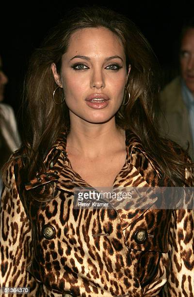 Actress Angelina Jolie arrives at the Shark Tale premiere at Central Park's Delacorte Theater on September 27 2004 in New York City