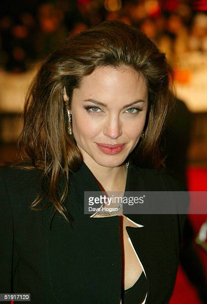 Actress Angelina Jolie arrives at the UK Premiere of 'Alexander' at the Odeon Leicester Square on January 5 2005 in London