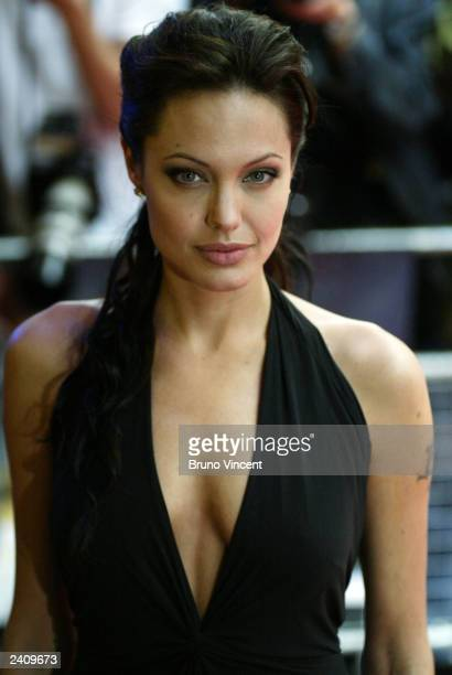 Actress Angelina Jolie arrives at the UK premiere of 'Lara Croft Tomb Raider The Cradle of Life' at the Empire cinema Leicester Square on August 19...