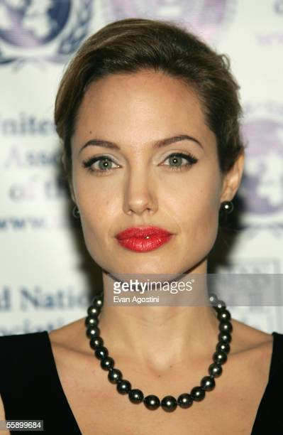 Actress Angelina Jolie arrives at the United Nations Association annual gala dinner at the Waldorf Astoria Hotel October 11 2005 in New York City
