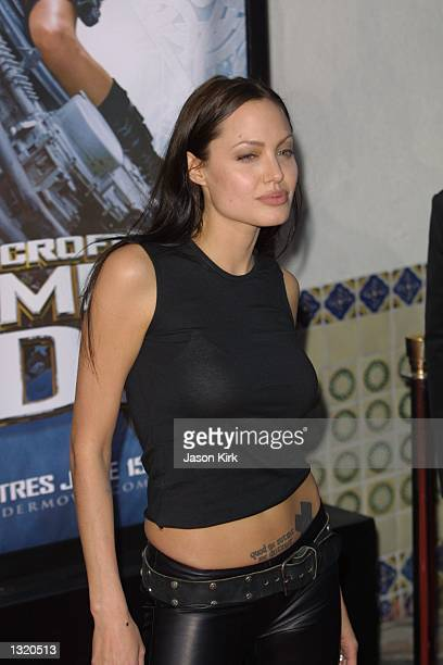 Actress Angelina Jolie arrives at the world premiere of the film 'Lara Croft Tomb Raider' June 11 2001 in Westwood CA