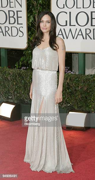 Actress Angelina Jolie arrives for the 66th Annual Golden Globe Awards in Beverly Hills California US on Sunday Jan 11 2009 Heath Ledger received a...