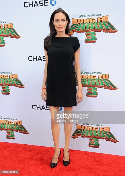 Actress Angelina Jolie arrives for the premiere of DreamWorks Animation and Twentieth Century Fox's 'Kung Fu Panda 3' held at TCL Chinese Theatre on...