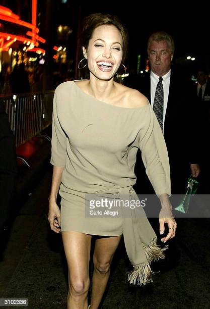 Actress Angelina Jolie arrives for the world premiere of her film 'Taking Lives' March 16 2004 in Los Angeles California