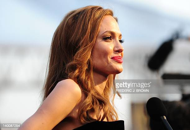 Actress Angelina Jolie arrives on the red carpet for the 84th Annual Academy Awards on February 26 2012 in Hollywood California AFP PHOTO Frederic J...