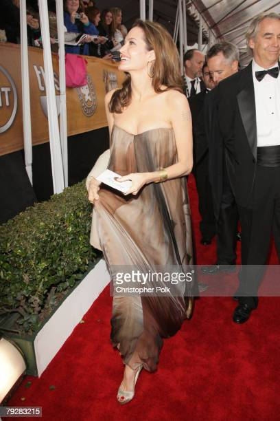 Actress Angelina Jolie arrives to the TNT/TBS broadcast of the 14th Annual Screen Actors Guild Awards at the Shrine Auditorium on January 27 2008 in...