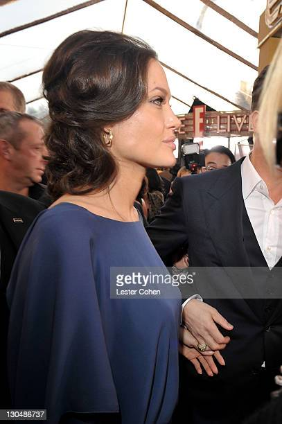Actress Angelina Jolie arrives to the TNT/TBS broadcast of the 15th Annual Screen Actors Guild Awards at the Shrine Auditorium on January 25 2009 in...