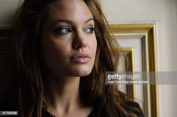 Actress Angelina Jolie at the Essex House hotel on Central Park South She stars in the new movie 'Alexander'
