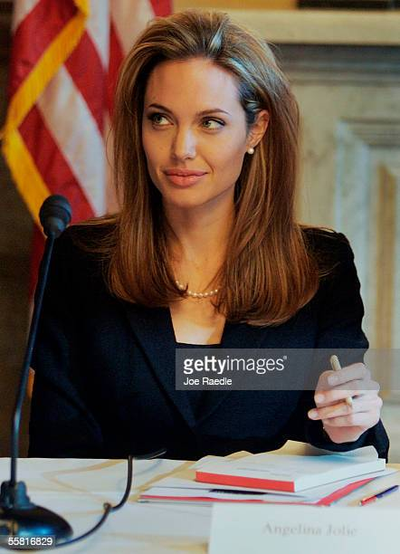Actress Angelina Jolie attends a Congressional briefing titled' Business Government and HIV/AIDS Tackling Global Economic and Security Threats'...