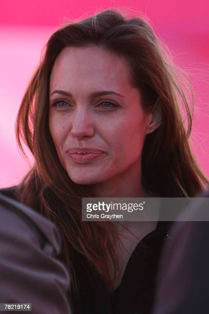 Actress Angelina Jolie attends a press conference by actor Brad Pitt to unveil the site and design of his Make It Right program on December 3 2007 in...
