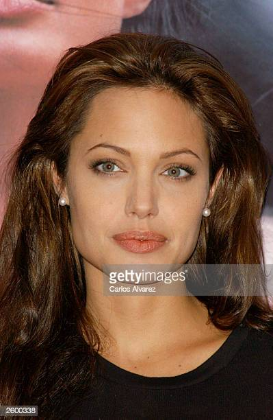 Actress Angelina Jolie attends a promotional photocall for her new movie 'Beyond Borders' October 15 2003 at Hotel Palace in Madrid Spain
