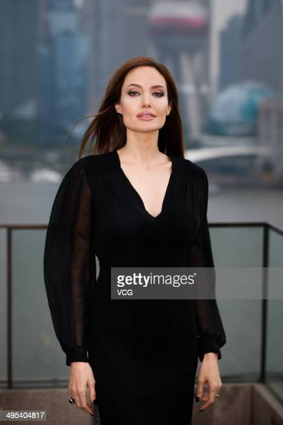 Actress Angelina Jolie attends 'Maleficent' photocall at The Bund on June 3 2014 in Shanghai China