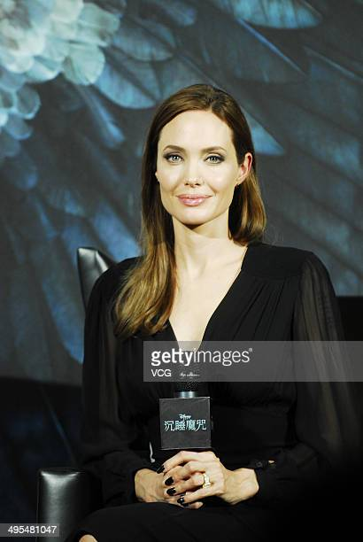 Actress Angelina Jolie attends 'Maleficent' press conference on June 3 2014 in Shanghai China