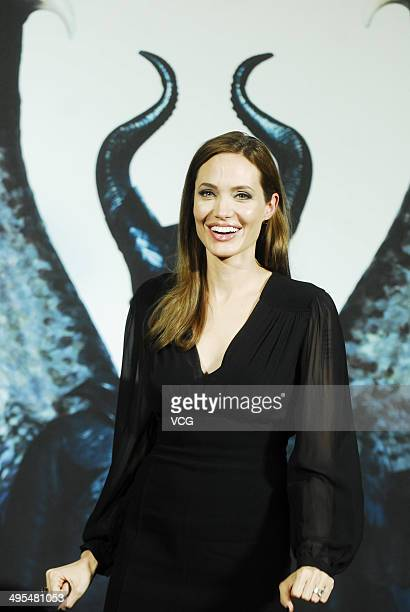 "Actress Angelina Jolie attends ""Maleficent"" press conference on June 3, 2014 in Shanghai, China."
