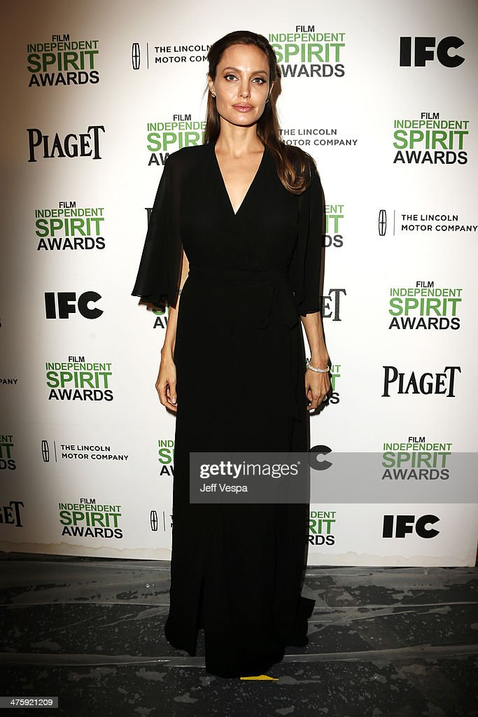 Actress Angelina Jolie attends the 2014 Film Independent Spirit Awards at Santa Monica Beach on March 1, 2014 in Santa Monica, California.