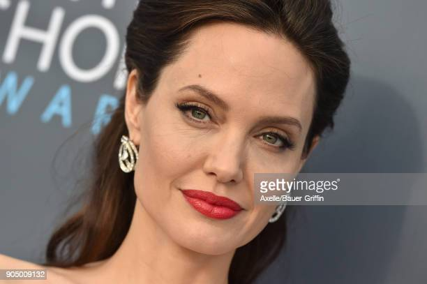 Actress Angelina Jolie attends the 23rd Annual Critics' Choice Awards at Barker Hangar on January 11 2018 in Santa Monica California