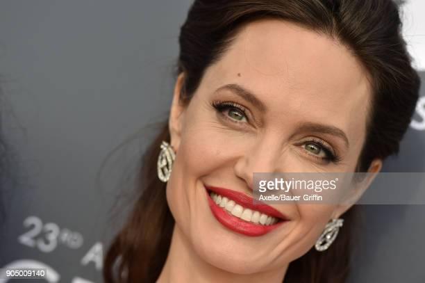 Actress Angelina Jolie attends the 23rd Annual Critics' Choice Awards at Barker Hangar on January 11 2018 in Santa Monica California