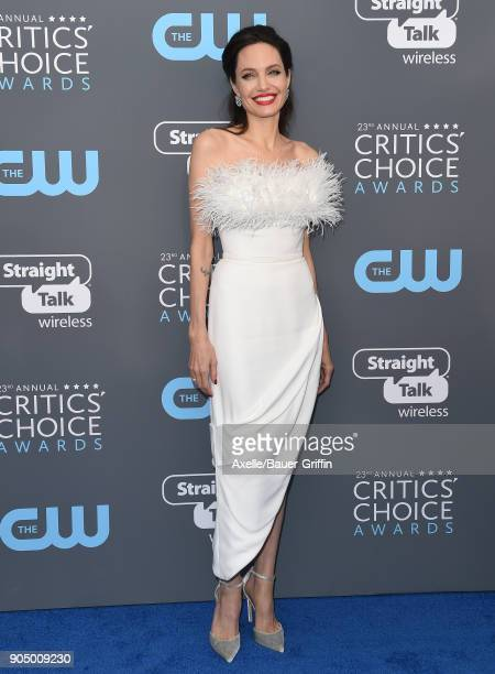 Actress Angelina Jolie attends the 23rd Annual Critics' Choice Awards at Barker Hangar on January 11, 2018 in Santa Monica, California.