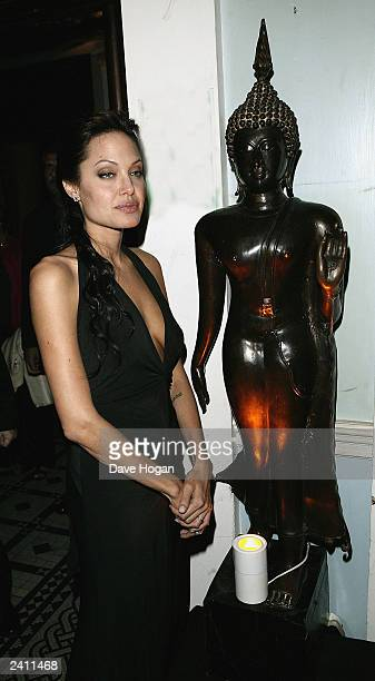 Actress Angelina Jolie attends the after party for The UK Premiere of 'Lara Croft Tomb Raider The Cradle of Life' on August 19 2003 in London England