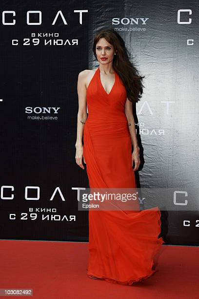 Actress Angelina Jolie attends the premier of the new movie 'Salt' in Oktyabr cinema hall on July 25 2010 in Moscow